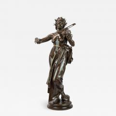 A Large Patinated Bronze Sculpture of a woman playing a violin La Musique  - 1470788