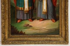 A Large Russian Oil on Canvas Painting of Two Bishops - 2128689