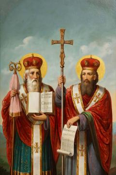 A Large Russian Oil on Canvas Painting of Two Bishops - 2128694