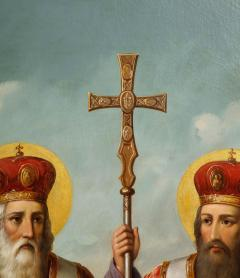 A Large Russian Oil on Canvas Painting of Two Bishops - 2128699