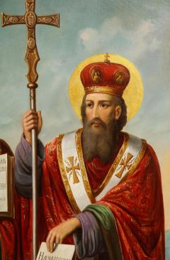A Large Russian Oil on Canvas Painting of Two Bishops - 2128702