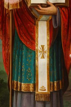 A Large Russian Oil on Canvas Painting of Two Bishops - 2128711