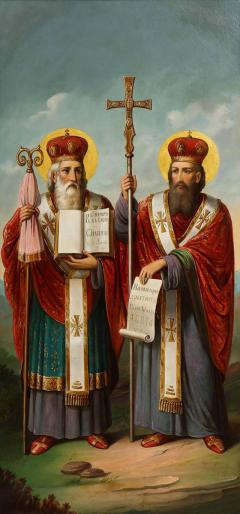 A Large Russian Oil on Canvas Painting of Two Bishops - 2132006