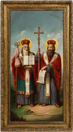 A Large Russian Oil on Canvas Painting of Two Bishops - 2132010