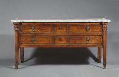 A Large Solid Walnut Late Louis XVI Commode With Original White Marble Top - 1829372