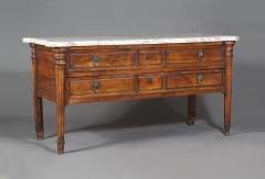 A Large Solid Walnut Late Louis XVI Commode With Original White Marble Top - 1829374