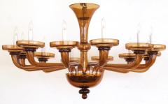 A Large and Richly Colored Murano 12 Light Amber Glass Chandelier - 107688