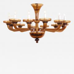 A Large and Richly Colored Murano 12 Light Amber Glass Chandelier - 109501