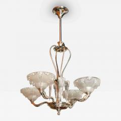 A Late Art Deco Nickel and Frosted Glass Icicle Chandelier - 84811