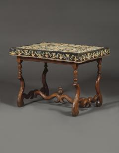 A Louis XIV Center Table Mounted With Rare Petit Point Floral Needlework Top - 1894697