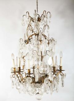 A Louis XV period gilded bronze rock crystal chandelier - 1525720