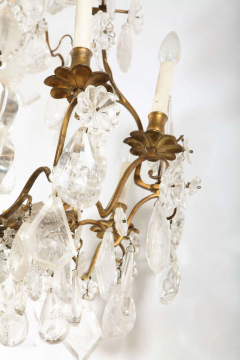A Louis XV period gilded bronze rock crystal chandelier - 1525735