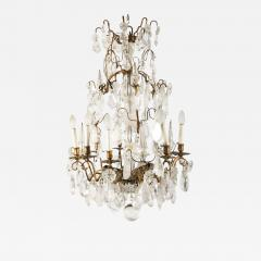 A Louis XV period gilded bronze rock crystal chandelier - 1530475