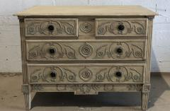 A Louis XVI Provincial Creme and Grey Painted 3 Drawer Commode Late 18th C  - 1462862