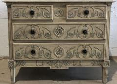 A Louis XVI Provincial Creme and Grey Painted 3 Drawer Commode Late 18th C  - 1462863