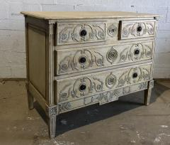 A Louis XVI Provincial Creme and Grey Painted 3 Drawer Commode Late 18th C  - 1462864