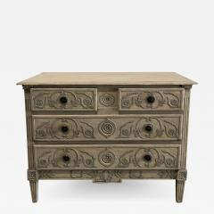 A Louis XVI Provincial Creme and Grey Painted 3 Drawer Commode Late 18th C  - 1464887