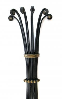 A Lyrical Pair of American Black Painted Wrought Iron 6 Arm Wall Sconces - 289966