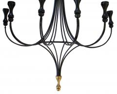 A Lyrical Pair of American Black Painted Wrought Iron 6 Arm Wall Sconces - 289967