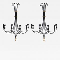 A Lyrical Pair of American Black Painted Wrought Iron 6 Arm Wall Sconces - 290635