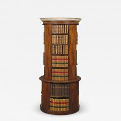 A Mahogany Circular Bookcase With A Statuary Dished Marble Top - 1308759