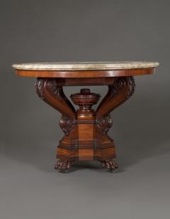A Mahogany Neoclassical Center Table With Concentric Turned Marble Molded Top - 854458
