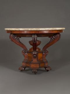 A Mahogany Neoclassical Center Table With Concentric Turned Marble Molded Top - 854520