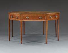 A Mahogany Octagonal and Cross Banded Center or Library Table with Leather Top - 551160
