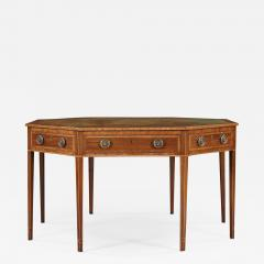 A Mahogany Octagonal and Cross Banded Center or Library Table with Leather Top - 552834