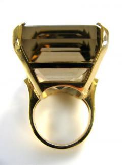 A Massive Gold and Smoky Quartz Retro Ring c 1950 - 43040