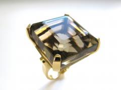 A Massive Gold and Smoky Quartz Retro Ring c 1950 - 43041