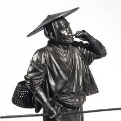 A Meiji period bronze of a cricket catcher - 1688260