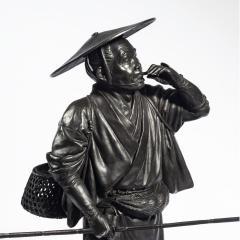 A Meiji period bronze of a cricket catcher - 1688261