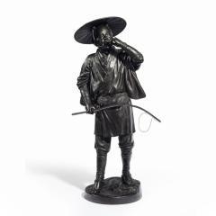 A Meiji period bronze of a cricket catcher - 1688262