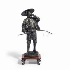 A Meiji period bronze of a cricket catcher - 1688263