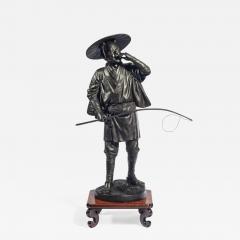 A Meiji period bronze of a cricket catcher - 1688942