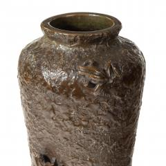 A Meiji period bronze vase with two frogs - 1119110