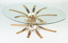 A Mid Century Modern oval bronze coffee table with a glass top France C 1960 - 2129198