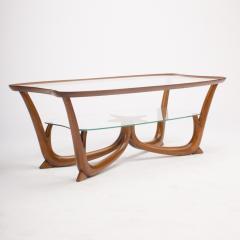 A Modern Italian mahogany coffee table with glass top circa 1950 - 1660950