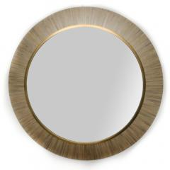A Modernist round mirror executed in meticulous straw marquetry contemporary - 2033519
