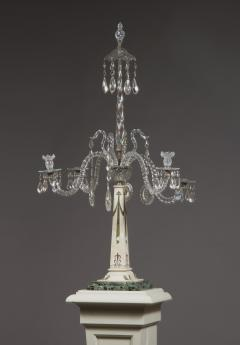 A Monumental Pair Of Inlaid Candelabra With Four Light Crystal Upper Sections - 1701508