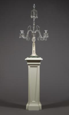 A Monumental Pair Of Inlaid Candelabra With Four Light Crystal Upper Sections - 1701509