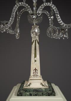 A Monumental Pair Of Inlaid Candelabra With Four Light Crystal Upper Sections - 1701512