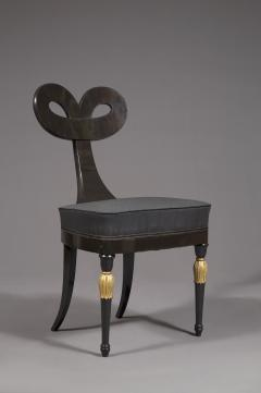 A Most Remarkable Ebonized And Partially Gilded Side Chair Of Unique Form - 905564