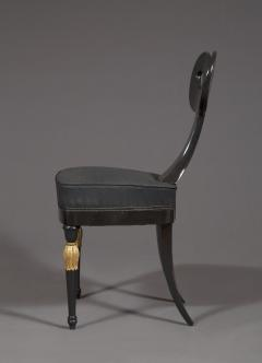 A Most Remarkable Ebonized And Partially Gilded Side Chair Of Unique Form - 905565