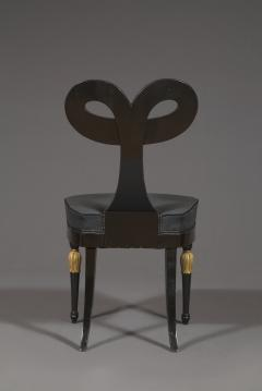 A Most Remarkable Ebonized And Partially Gilded Side Chair Of Unique Form - 905566