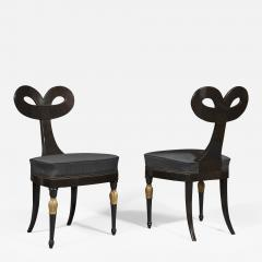 A Most Remarkable Ebonized And Partially Gilded Side Chair Of Unique Form - 907602