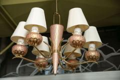 A Murano 6 Arm Glass and Brass Chandelier - 83398