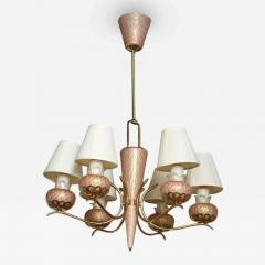 A Murano 6 Arm Glass and Brass Chandelier - 84812