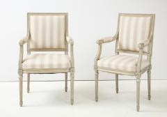 A Near Pair of Swedish Late Gustavian Style Painted Open Armchairs Circa 1870s - 2135271